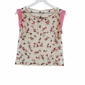 Rebecca Taylor Floral Beaded Mesh Top